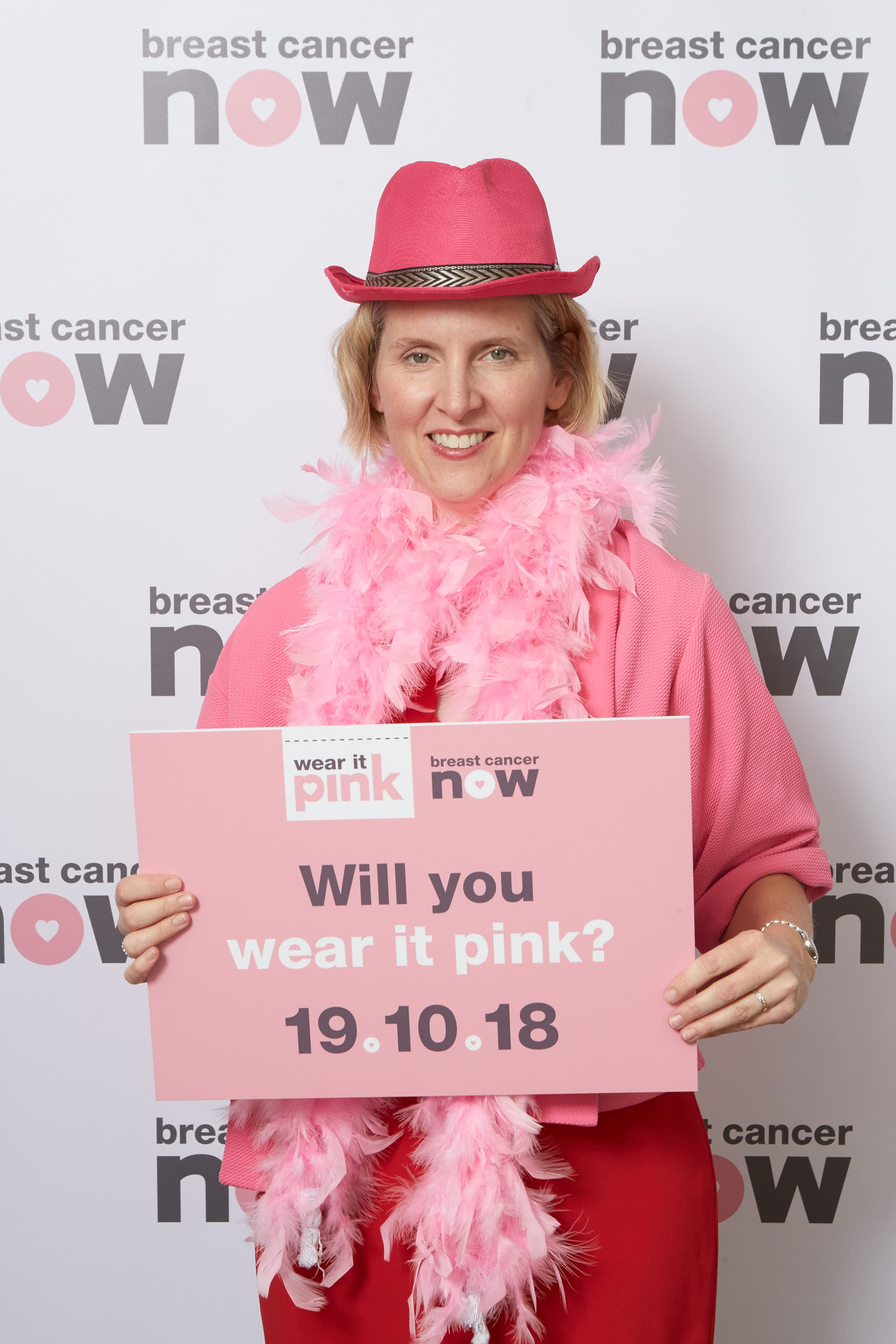 Emma Reynolds supporting Wear It Pink day